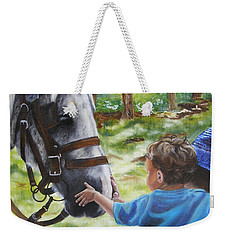 Weekender Tote Bag featuring the painting Thank You's by Lori Brackett