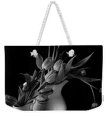 Weekender Tote Bag featuring the photograph The Beauty Of Tulips In Black And White by Sherry Hallemeier