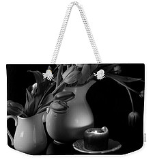 The Beauty Of Tulips In Black And White Weekender Tote Bag by Sherry Hallemeier