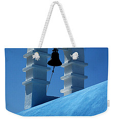 Weekender Tote Bag featuring the photograph The Bell Tower In Mykonos by Vivian Christopher