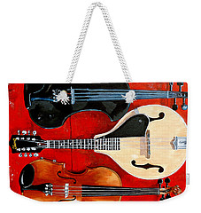 Weekender Tote Bag featuring the painting The Boys by Tom Roderick