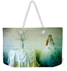 Weekender Tote Bag featuring the photograph The Bride Takes A Moment by Nina Prommer