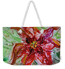 Weekender Tote Bag featuring the painting The Christmas Poinsettia by Dragica  Micki Fortuna