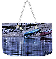 Weekender Tote Bag featuring the photograph The Dramatic Canoe Scene by Janie Johnson