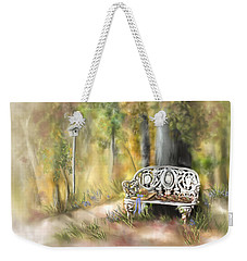 Weekender Tote Bag featuring the painting The Garden Bench by Bonnie Willis