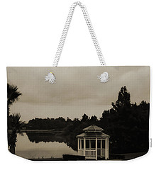 Weekender Tote Bag featuring the photograph The Gazebo At The Lake by DigiArt Diaries by Vicky B Fuller