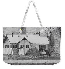Weekender Tote Bag featuring the drawing The House Across by Kume Bryant