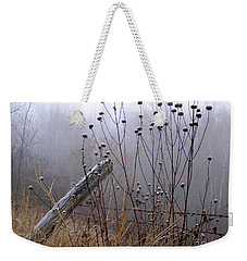 The Old Fence - Blue Misty Morning Weekender Tote Bag by Angie Rea