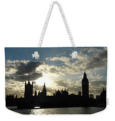 The Outline Of Big Ben And Westminster And Other Buildings At Sunset Weekender Tote Bag