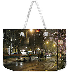 Weekender Tote Bag featuring the photograph The Past Meets The Present In Chicago Il by Ausra Huntington nee Paulauskaite