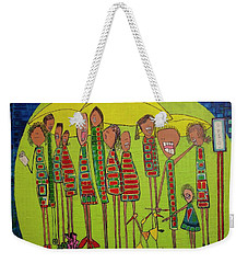 Weekender Tote Bag featuring the painting The Spotted Duck by Donna Howard