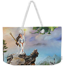 Weekender Tote Bag featuring the painting The Summoning by Lori Brackett