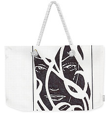 Weekender Tote Bag featuring the drawing The Unkown Woman by Jeremiah Colley