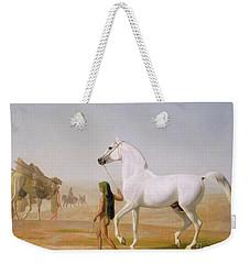The Wellesley Grey Arabian Led Through The Desert Weekender Tote Bag by Jacques-Laurent Agasse