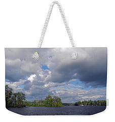 Weekender Tote Bag featuring the photograph Three Islands And Cloud Mass by Lynda Lehmann