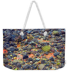 Weekender Tote Bag featuring the photograph Tinopoi Beach Rocks by Mark Dodd