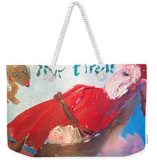 Tired Santa Weekender Tote Bag by Judith Desrosiers