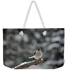 Titmouse Endures Snowstorm Weekender Tote Bag