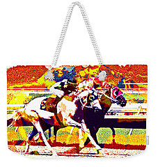 Weekender Tote Bag featuring the photograph To The Finish by Alice Gipson