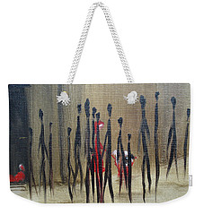 Weekender Tote Bag featuring the painting Too Busy To Notice by Judith Rhue