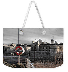 Tower Of London With Tube Sign Weekender Tote Bag