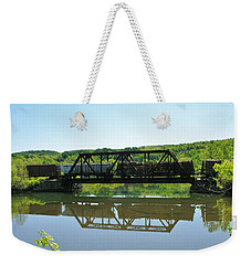 Weekender Tote Bag featuring the photograph Train And Trestle by Sherman Perry
