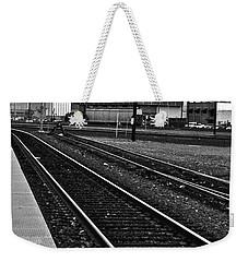 train tracks - Black and White Weekender Tote Bag by Bill Owen
