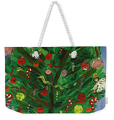Weekender Tote Bag featuring the painting Tree In The Blue Room by Mary Carol Williams