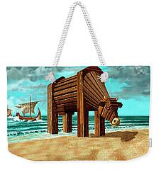 Trojan Cow Weekender Tote Bag by Russell Kightley