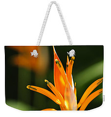 Tropical Orange Heliconia Flower Weekender Tote Bag by Elena Elisseeva