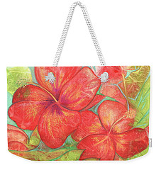Two Hibiscus Blossoms Weekender Tote Bag by Carla Parris