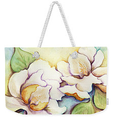 Two Magnolia Blossoms Weekender Tote Bag by Carla Parris