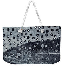 Unique Etching Artwork - Brown Trout  - Trout Waters - Trout Brook - Engraving Weekender Tote Bag