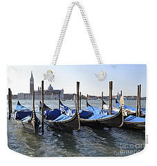 Weekender Tote Bag featuring the photograph Venice Gondolas by Rebecca Margraf