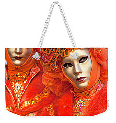Weekender Tote Bag featuring the photograph Venice Masks by Luciano Mortula