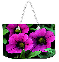Weekender Tote Bag featuring the painting Vibrant Pink by Karen Harrison