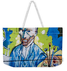 Weekender Tote Bag featuring the digital art Vincent On The Wall by Carol Ailles