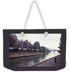 Walking The Dog Along The Seine Weekender Tote Bag by Tom Wurl