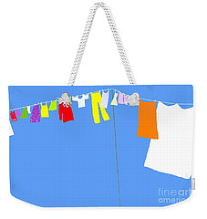 Weekender Tote Bag featuring the digital art Washing Line Simplified Edition by Barbara Moignard