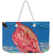 Weekender Tote Bag featuring the painting Wave Fisherman by Mary Carol Williams