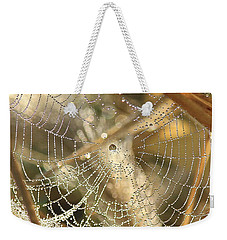 Weekender Tote Bag featuring the photograph Web Of Jewels by Penny Meyers