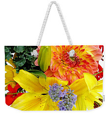 Weekender Tote Bag featuring the photograph Wedding Flowers by Rory Sagner