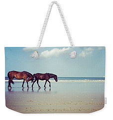 Well, This Just Happened. #wild #horses Weekender Tote Bag by Katie Cupcakes