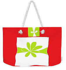 Weekender Tote Bag featuring the digital art Welsh Merry Christmas Red by Barbara Moignard