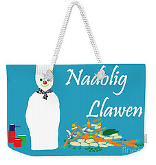 Weekender Tote Bag featuring the digital art Welsh Snowman Chef by Barbara Moignard