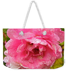 Weekender Tote Bag featuring the photograph Wet Rose by Stephanie Moore