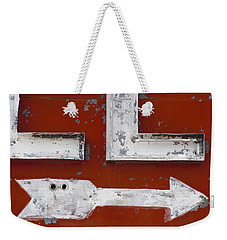 White Arrow On Motel Sign Weekender Tote Bag