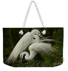 White Egrets Working Together Weekender Tote Bag by Myrna Bradshaw