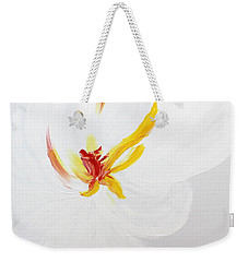 Weekender Tote Bag featuring the painting White Flower by Kume Bryant
