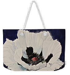 Weekender Tote Bag featuring the painting White Poppy-posthumously Presented Paintings Of Sachi Spohn  by Cliff Spohn